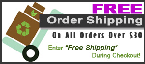 Now customers can get free shipping on all orders over $30 (before tax) - simply enter free shipping in the coupon field when prompted and choose free shipping as your preferred mailing method during checkout.