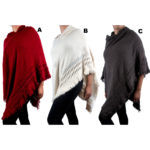 Women's Custom Patterned Knit Hooded Poncho Sweater: Group Shot