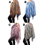 Women's Shiny Custom Knit Patterned Colored Light-Weight Sheer Ponchos: Group Shot