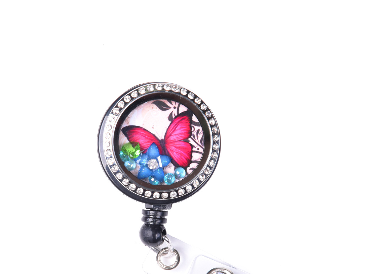 Jeweled Butterfly Charm Locket ID Badge Holder: Homepage Slider