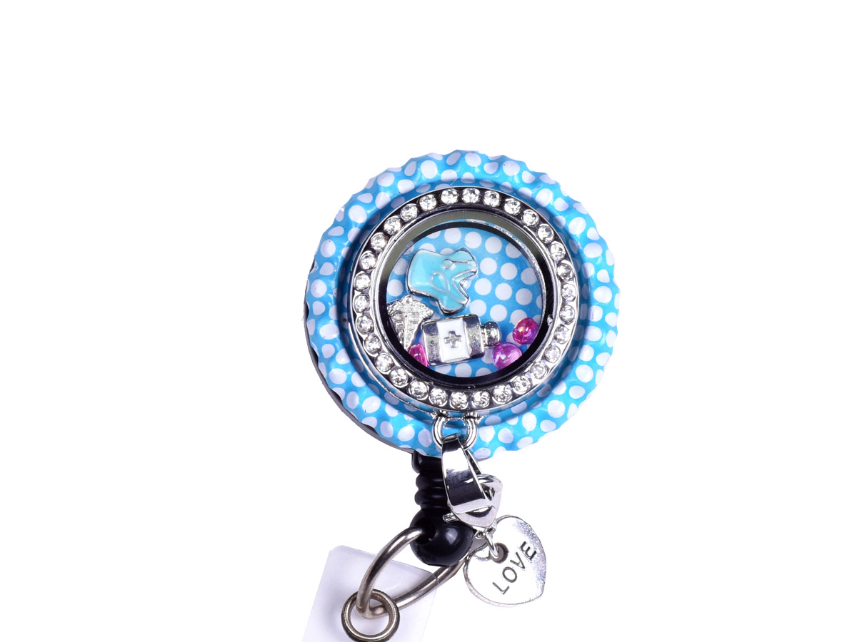 Blue Bottle Cap Nurse Charm Locket ID Badge Holder: Homepage Slider
