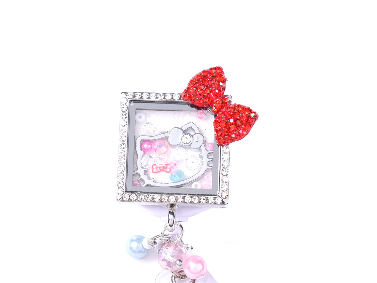 Square Kitty Bow Charm Locket Retractable ID Badge Holder: Homepage Slider
