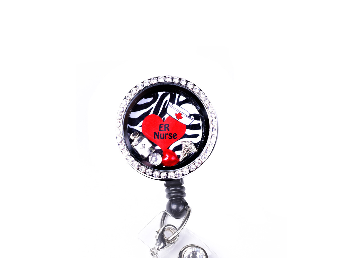 Zebra RN Heart Charm Locket Retractable Badge Reel: Homepage Slider