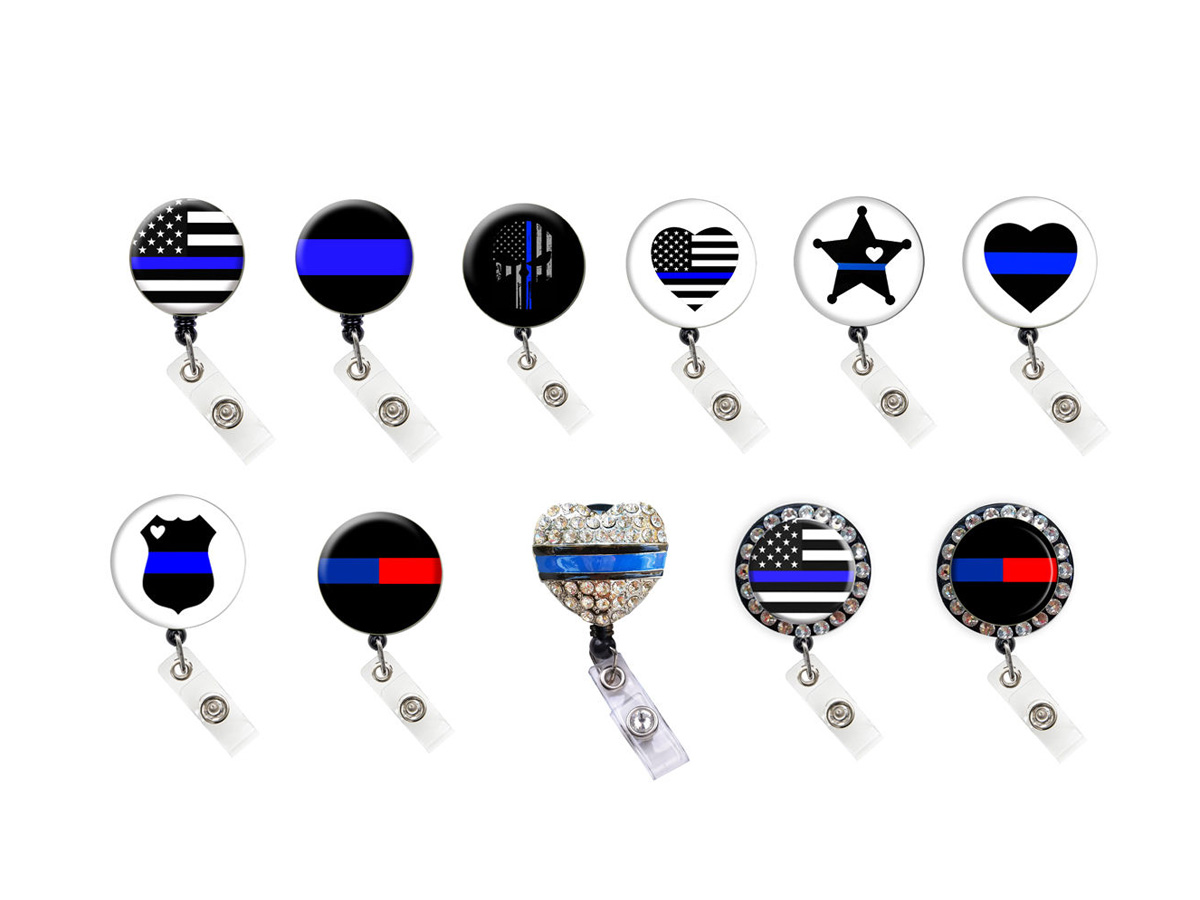 Thin Blue Line Badge Reel Retractable Badge Holder Collection: Homepage Slider