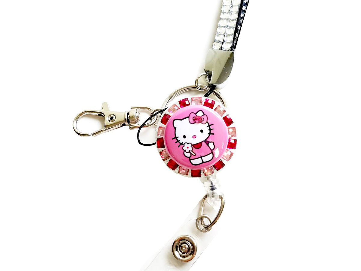 Pink Hello Kitty Flower Retractable Badge Reel Multi-tone Rhinestone Lanyard Combo Set: Homepage Slider