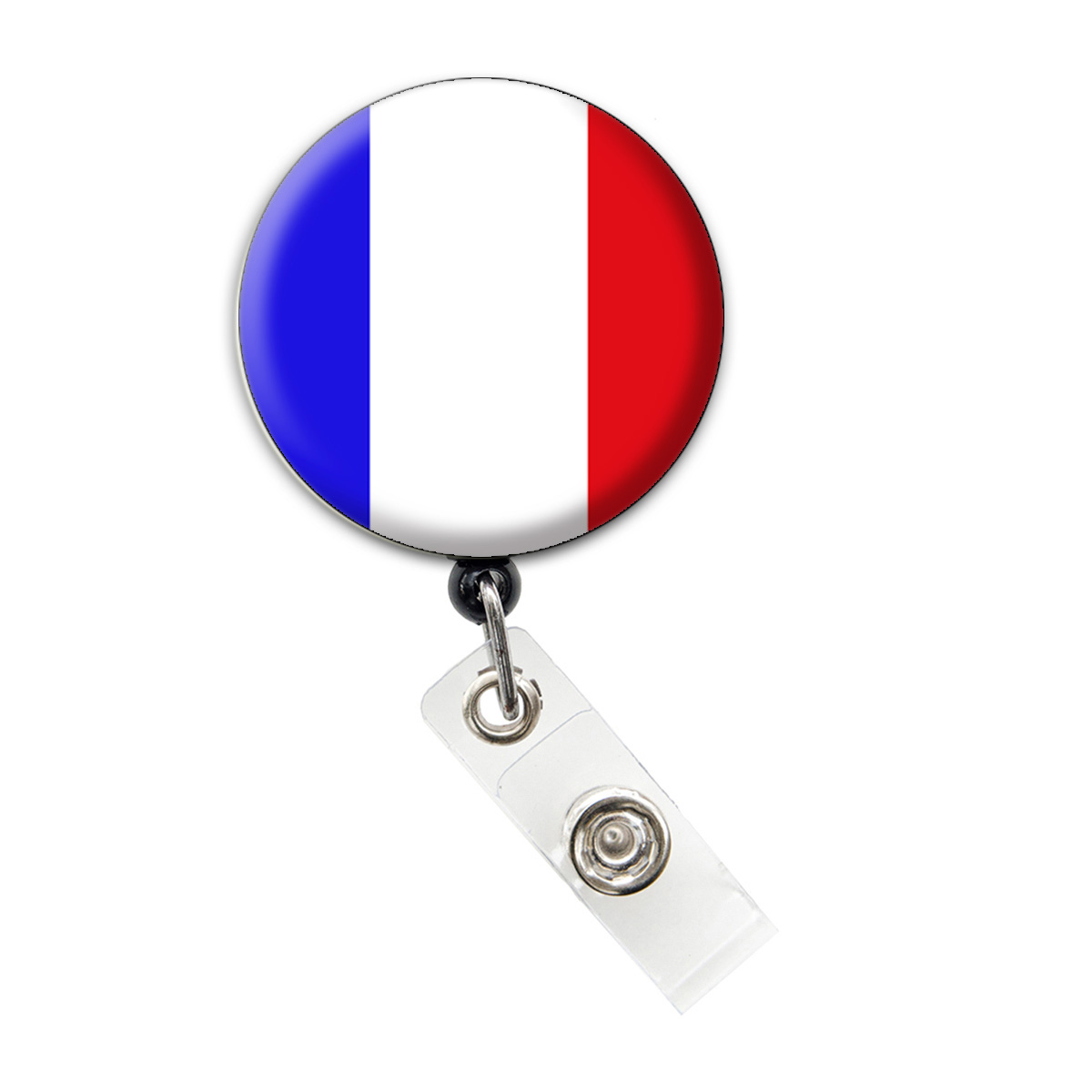 French Flag Badge Reel Retractable ID Badge Holder: Featured Image