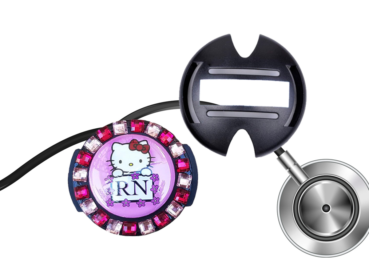 Flower Lined RN Hello Kitty Stethoscope Tag: Homepage Slider